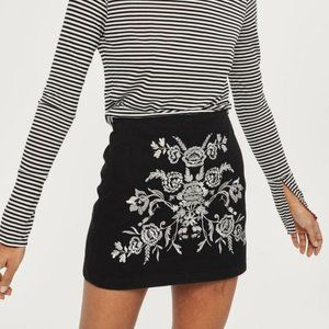 TOPSHOP Black & Silver Embroidered A-Line Skirt
